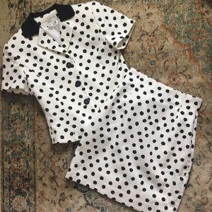 Vintage polka dot skirt suit size 2 P